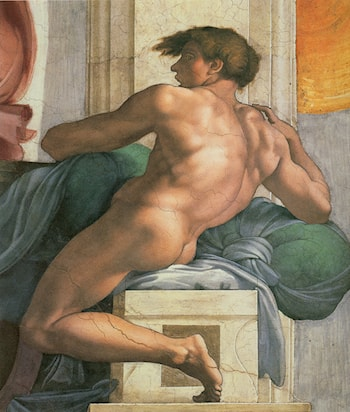 Ceiling of the Sistine Chapel: Ignudi, next to Separation of Land and the Persian Sybil [right] by Michelangelo